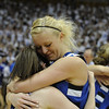 Broomfield High School senior Bre Burgesser hugs teammate Bri Wilber after winning the Colorado High School Athletic Association girls class 4A championship game on Friday, March 11, at the Coors Events Center on the University of Colorado campus in Boulder. Broomfield defeated Longmont 48-38.<br /> Jeremy Papasso/ Camera