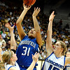 Broomfield High School senior Tyana Medema takes a shot over Longmont's Tambre Haddock, right, during the Colorado High School Athletic Association girls class 4A championship game on Friday, March 11, at the Coors Events Center on the University of Colorado campus in Boulder. Broomfield defeated Longmont 48-38.<br /> Jeremy Papasso/ Camera