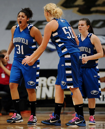 20110311_BKOL_BROOMFIELD_MEDEMA.JPG Broomfield's Tyana Medema reacts to fouling out after a charge call on Longmont's Erica Meier in the Class 4A Championship game at Coors Events Center in Boulder on Friday, March 11, 2011. (Joshua Buck/Times-Call)