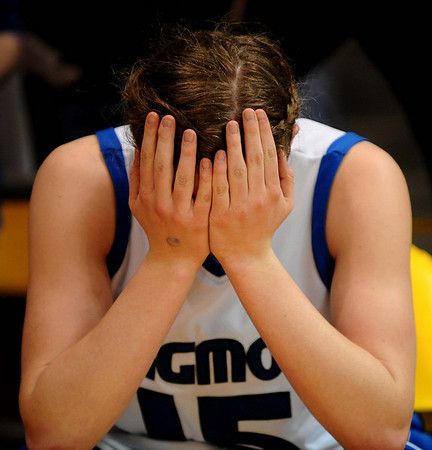 20110311_BKOL_BROOMFIELD_HADDOCK.JPG Longmont's Tambre Haddock reflects on the teams' 48-38 loss to Broomfield in the Class 4A Championship game at Coors Events Center in Boulder on Friday, March 11, 2011. (Joshua Buck/Times-Call)