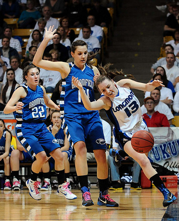 20110311_BKOL_BROOMFIELD_NEHF_KATUNA_1.JPG Longmont's Jamie Katuna loses the ball out of bounds while driving the baseline around Broomfield's Katie Nehf in the Class 4A Championship game at Coors Events Center in Boulder on Friday, March 11, 2011. (Joshua Buck/Times-Call)