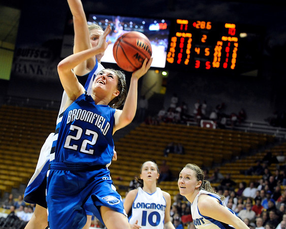 Broomfield High School junior Brittney Zec drives to the hoop during the girls Colorado High School Athletic Association class 4A Final Four championship game against Longmont on Friday, March 11, at the Coors Events Center on the University of Colorado campus in Boulder. Broomfield won the game 48-38.<br /> Jeremy Papasso/ Camera