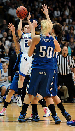 20110311_BKOL_BROOMFIELD_THORNHOLT.JPG Longmont's Amber Thornholt puts up a shot in Broomfield traffic in the Class 4A Championship game at Coors Events Center in Boulder on Friday, March 11, 2011. (Joshua Buck/Times-Call)