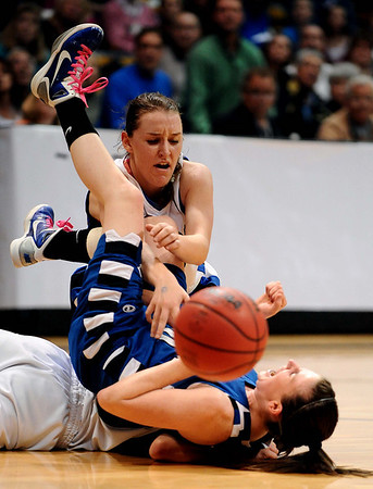 20110311_BKOL_BROOMFIELD_MEIER_KATUNA_WIBER.JPG Broomfield's Bri Wiber falls over Longmont's Erica Meier as Jamie Katuna goes after the loose ball in the Class 4A Championship game at Coors Events Center in Boulder on Friday, March 11, 2011. Meier picked up a foul on the play. (Joshua Buck/Times-Call)