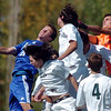 Broomfield's Cole Chapleski, left, tries to get the ball past several Niwot  players including goalie Connor Wood, right, during Saturday's game at Niwot High.<br /> <br /> October 3, 2009<br /> Staff photo/David R. Jennings