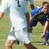 Garrett Seitz, right, Broomfield, looks for an opening past Nick Terry, Niwot, during Saturday's game at Niwot High.<br /> <br /> October 3, 2009<br /> Staff photo/David R. Jennings