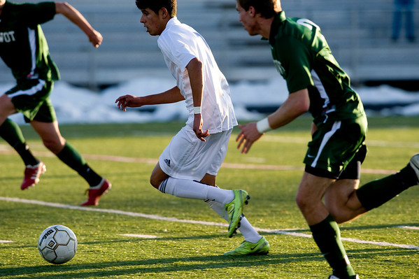 Broomfield's Carlos Mendez, 7, goes for the goal while playing Niwot during the semi-finals of the class 4A state soccer championships at Englewood High School in Englewood, Saturday, Nov. 7,  2009. <br /> KASIA BROUSSALIAN / THE CAMERA