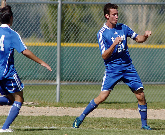 Cole Chapleski, right, Broomfield, celebrates after scoring a goal against Niwot during Saturday's game at Niwot High.<br /> <br /> October 3, 2009<br /> Staff photo/David R. Jennings