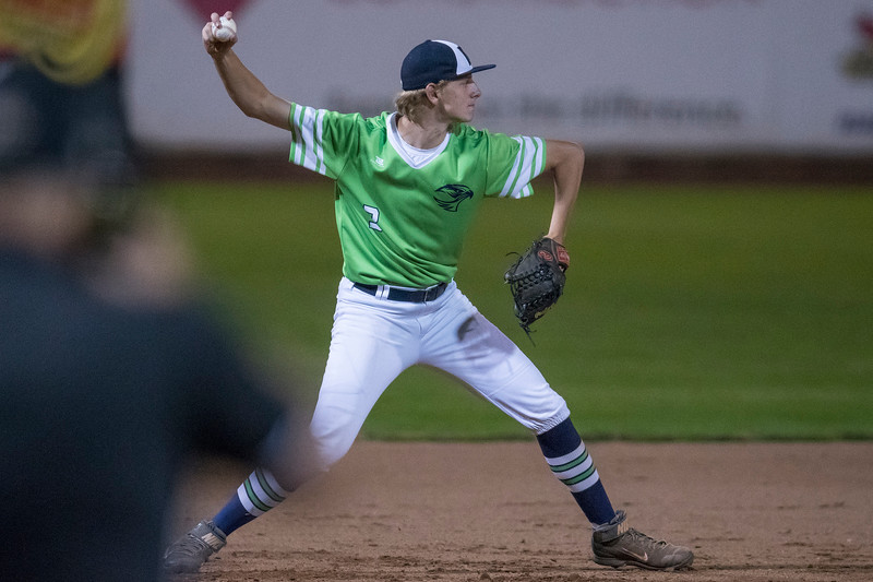 Ridgeline High School's Dallen Larsen (3) helps assist in the double play sending 3A North up to bat during the Utah High School All Star Game at Lindquist Field in Ogden on Friday June 2, 2017. 3A north looses 13-15 to 3A south.