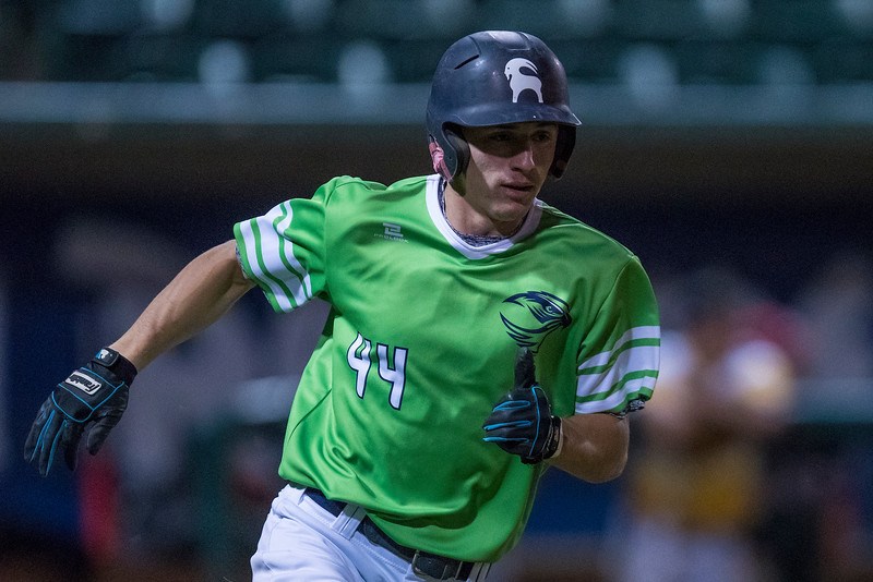 3A North trails the ball game 12- 0 in the 7th inning. In the 8th inning they would score 4 and in the 9th score 8 with the help of Landon Jenson (44) of Ridgeline High School hitting a home run and tying the game 12-12 at the bottom of the 9th. 3A South would ending up falling to the 3A north 13-15 at Lindquist Field in Ogden on Friday June 2, 2017.