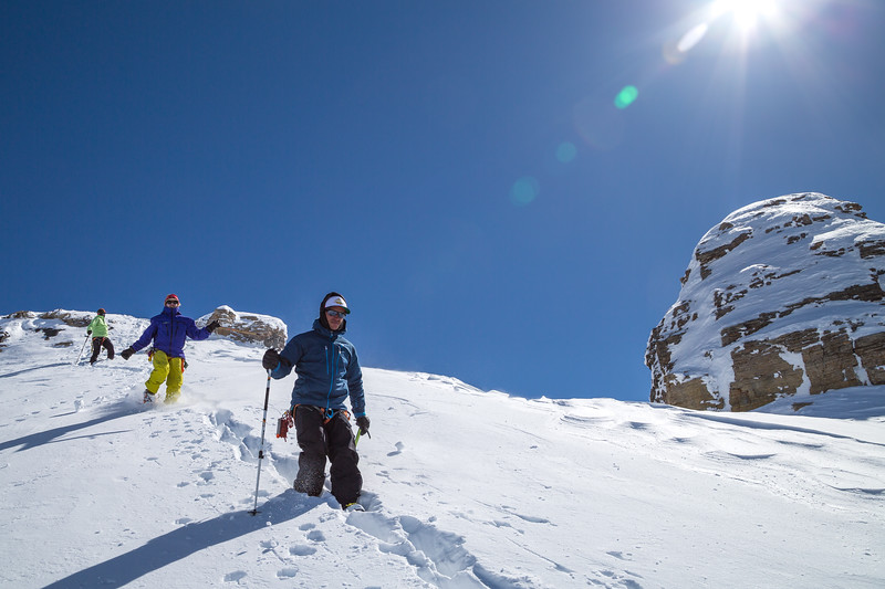 Descending from the secondary summit