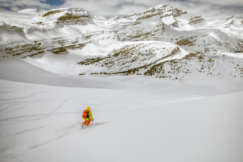 Mike skis down into the valley