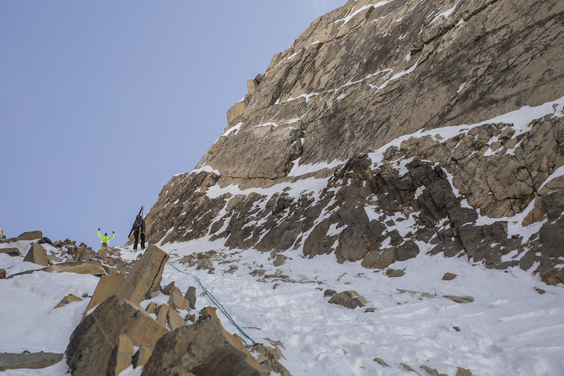 K Long on belay, Cirque Peak