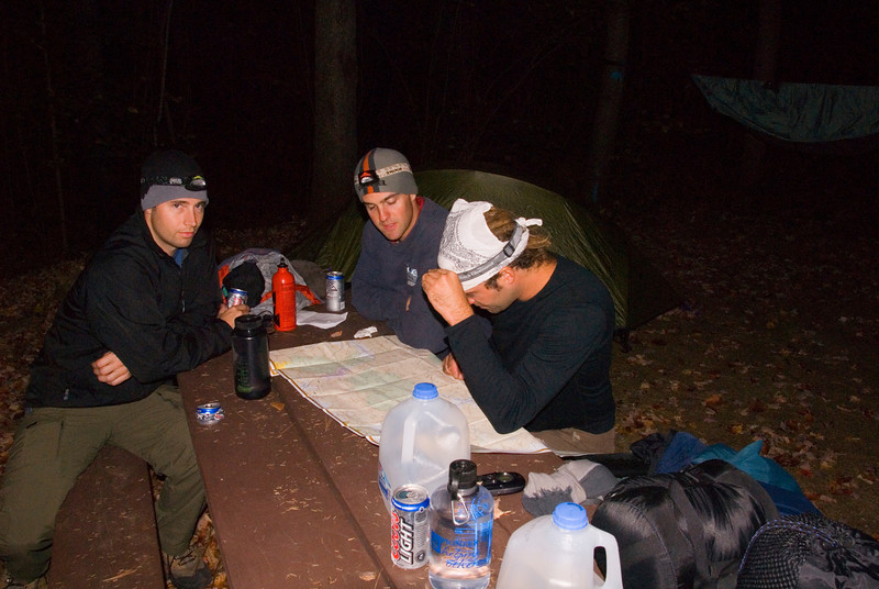 Setup shop and looking over maps and itinerary at Hastings Campground off Rt 113 along the Maine/NH border... Brian, Jay, Eric