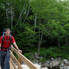 here's Jay on a suspension bridge, pretty early on in the flat/warm-up part of the hike