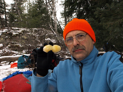 After falling into the river, we stopped to heat up soup.   Here, frozen eggs taste just about as unappetizing as they look.  But what the heck, it's protein and calories that matter.