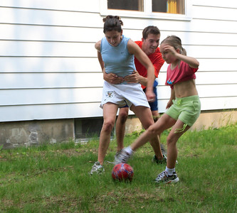 One quiet Saturday afternoon turned into a vicious soccer battle where 3 ladies clearly outplayed the lonely male amateur. Here he picks the wrong striker.
