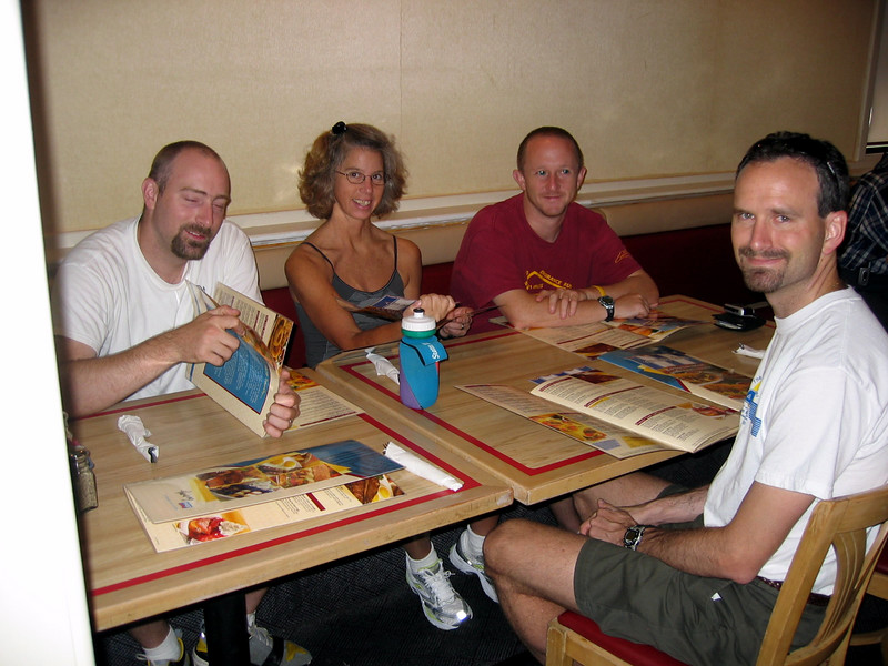 The pre, pre-race breakfast in Vegas.  Notice how clean we all still look!  Look how alert Jay (red shirt) still looks!