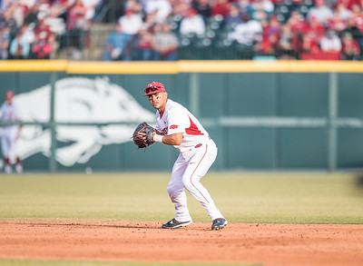 Arkansas infielder Michael Bernal (3) fielding during a baseball game between Arkansas and Central Michigan on 2-19-16.   (Alan Jamison, Nate Allen Sports Service)
