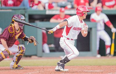 Arkansas infielder Rick Nomura (1) bats during a baseball game between Arkansas and Central Michigan on 2-19-16.   (Alan Jamison, Nate Allen Sports Service)