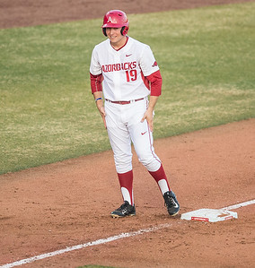 Arkansas outfielder Austin Catron (19) on third base during a baseball game between Arkansas and Central Michigan on 2-19-16.   (Alan Jamison, Nate Allen Sports Service)