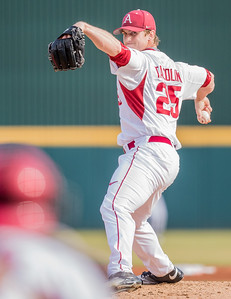 Arkansas pitcher Dominic Taccolini (25) on the mound during a baseball game between Arkansas and Central Michigan on 2-19-16.   (Alan Jamison, Nate Allen Sports Service)