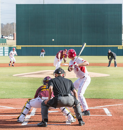 Arkansas outfielder Clark Eagan (9) during a baseball game between Arkansas and Central Michigan on 2-19-16.   (Alan Jamison, Nate Allen Sports Service)