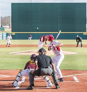 Arkansas outfielder Clark Eagan (9) during a baseball game between Arkansas and Central Michigan on 2-19-16.   (Alan Jamison, Nate Allen Sports Service)