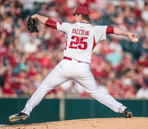 Arkansas pitcher Dominic Taccolini (25) pitches during a baseball game between Arkansas and Central Michigan on 2-19-16.   (Alan Jamison, Nate Allen Sports Service)