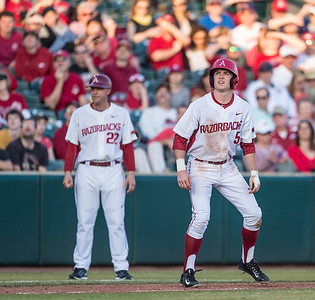Arkansas infielder Cody Scroggins (5) on third base during a baseball game between Arkansas and Central Michigan on 2-19-16.   (Alan Jamison, Nate Allen Sports Service)