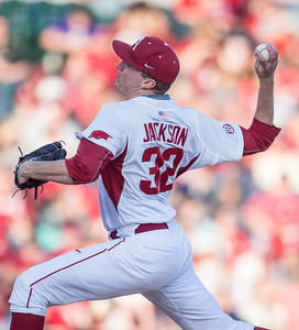 Arkansas pitcher Zach Jackson (32) pitches during a baseball game between Arkansas and Central Michigan on 2-19-16.   (Alan Jamison, Nate Allen Sports Service)