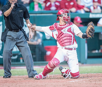 Arkansas catcher Tucker Pennell (27) during a baseball game between Arkansas and Central Michigan on 2-19-16.   (Alan Jamison, Nate Allen Sports Service)