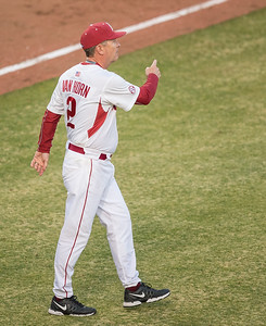 Arkansas skipper Dave Van Horn calls for the next pitcher during a baseball game between Arkansas and Central Michigan on 2-19-16.   (Alan Jamison, Nate Allen Sports Service)