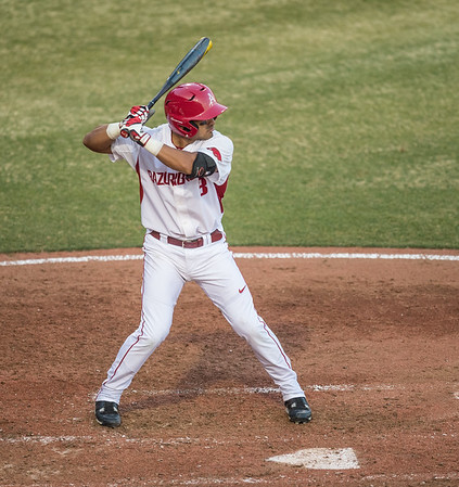 Arkansas infielder Michael Bernal (3) at bat during a baseball game between Arkansas and Central Michigan on 2-19-16.   (Alan Jamison, Nate Allen Sports Service)