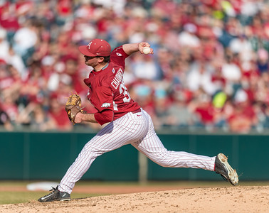 Arkansas pitcher Cannon Chadwick (36) pitches during a baseball game between Arkansas and Central Michigan on 2-20-16.   (Alan Jamison, Nate Allen Sports Service)