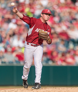 Arkansas pitcher Cannon Chadwick (36) throws to first base  during a baseball game between Arkansas and Central Michigan on 2-20-16.   (Alan Jamison, Nate Allen Sports Service)