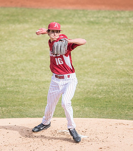 Arkansas pitcher Blaine Knight (16) throws to first base during a baseball game between Arkansas and Central Michigan on 2-20-16.   (Alan Jamison, Nate Allen Sports Service)
