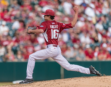 Arkansas pitcher Blaine Knight (16) pitches during a baseball game between Arkansas and Central Michigan on 2-20-16.   (Alan Jamison, Nate Allen Sports Service)