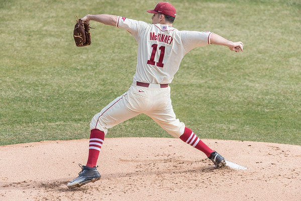 during a baseball game between Arkansas and Central Michigan on 2-21-16.   (Alan Jamison, Nate Allen Sports Service)