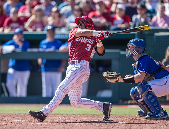 Arkansas infielder Michael Bernal (3) at bat during a baseball game between Arkansas and Eastern Illinois on 3-5-16.   (Alan Jamison, Nate Allen Sports Service)