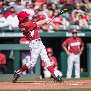 Arkansas infielder Cody Scroggins (5) at bat during a baseball game between Arkansas and Eastern Illinois on 3-5-16.   (Alan Jamison, Nate Allen Sports Service)
