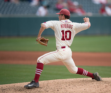 Arkansas pitcher Josh Alberius (10) pitches during a baseball game between Arkansas and Western Illinois on 3-5-16.   (Alan Jamison, Nate Allen Sports Service)