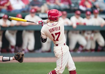 Arkansas outfielder Luke Bonfield (17) bats during a baseball game between Arkansas and Western Illinois on 3-5-16.   (Alan Jamison, Nate Allen Sports Service)