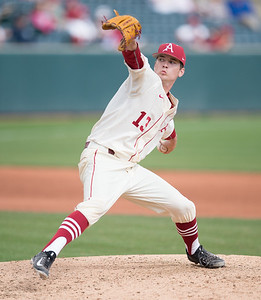 Arkansas pitcher Ty Harris (13) pitches during a baseball game between Arkansas and Western Illinois on 3-5-16.   (Alan Jamison, Nate Allen Sports Service)