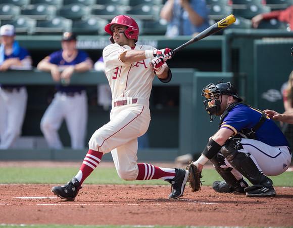 Arkansas infielder Michael Bernal (3) bats during a baseball game between Arkansas and Western Illinois on 3-5-16.   (Alan Jamison, Nate Allen Sports Service)