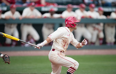 Arkansas infielder Rick Nomura (1) bats during a baseball game between Arkansas and Western Illinois on 3-5-16.   (Alan Jamison, Nate Allen Sports Service)