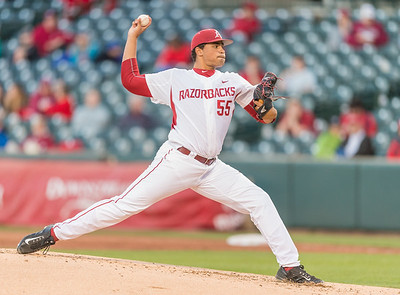 Arkansas pitcher Isaiah Campbell (55) pitches during a baseball game between Arkansas and Grambling State on 3-15-2016.    (Alan Jamison, Nate Allen Sports Service)