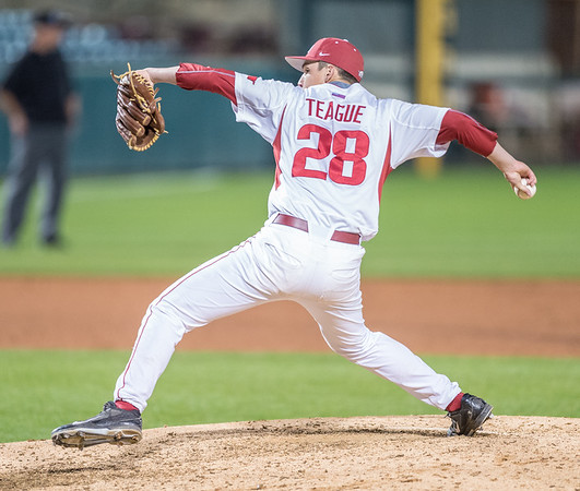 Arkansas pitcher James Teague (28) pitches during a baseball game between Arkansas and Grambling State on 3-15-2016.    (Alan Jamison, Nate Allen Sports Service)