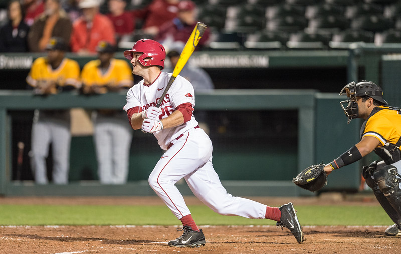 Arkansas outfielder Jack Benninghoff (26) at bat during a baseball game between Arkansas and Grambling State on 3-15-2016.    (Alan Jamison, Nate Allen Sports Service)