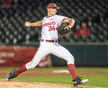 Arkansas pitcher Jake Reindl (34) pitches during a baseball game between Arkansas and Grambling State on 3-15-2016.    (Alan Jamison, Nate Allen Sports Service)